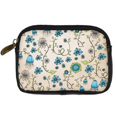 Whimsical Flowers Blue Digital Camera Leather Case
