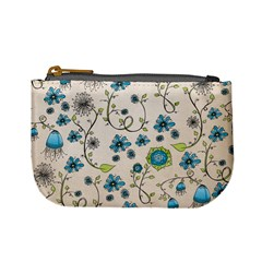 Whimsical Flowers Blue Coin Change Purse