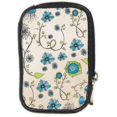 Whimsical Flowers Blue Compact Camera Leather Case