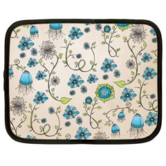 Whimsical Flowers Blue Netbook Sleeve (xxl)