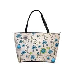 Whimsical Flowers Blue Large Shoulder Bag