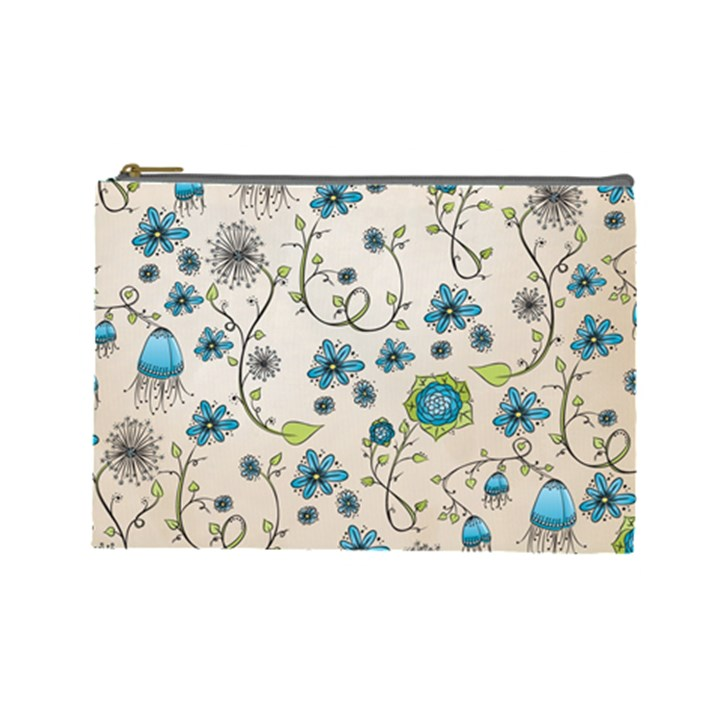 Whimsical Flowers Blue Cosmetic Bag (Large)