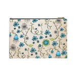 Whimsical Flowers Blue Cosmetic Bag (Large) Back