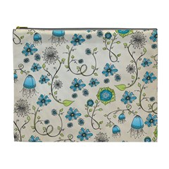 Whimsical Flowers Blue Cosmetic Bag (xl)