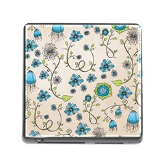 Whimsical Flowers Blue Memory Card Reader with Storage (Square)