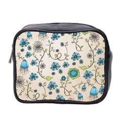 Whimsical Flowers Blue Mini Travel Toiletry Bag (Two Sides)