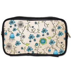 Whimsical Flowers Blue Travel Toiletry Bag (one Side)