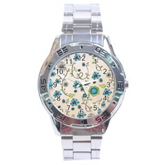 Whimsical Flowers Blue Stainless Steel Watch