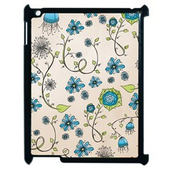 Whimsical Flowers Blue Apple Ipad 2 Case (black)
