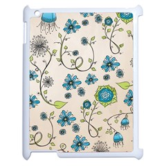 Whimsical Flowers Blue Apple iPad 2 Case (White)