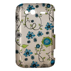 Whimsical Flowers Blue HTC Wildfire S A510e Hardshell Case