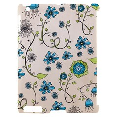 Whimsical Flowers Blue Apple iPad 2 Hardshell Case (Compatible with Smart Cover)