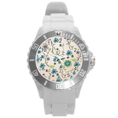 Whimsical Flowers Blue Plastic Sport Watch (Large)