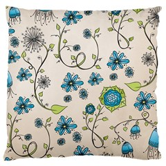 Whimsical Flowers Blue Large Cushion Case (Two Sided)