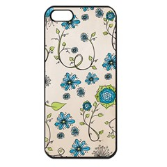 Whimsical Flowers Blue Apple Iphone 5 Seamless Case (black)
