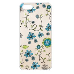 Whimsical Flowers Blue Apple Iphone 5 Seamless Case (white)