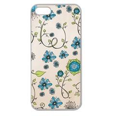 Whimsical Flowers Blue Apple Seamless Iphone 5 Case (clear)