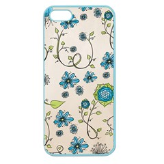 Whimsical Flowers Blue Apple Seamless iPhone 5 Case (Color)