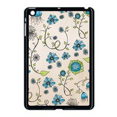 Whimsical Flowers Blue Apple Ipad Mini Case (black)