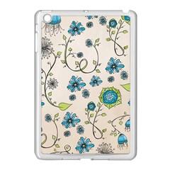 Whimsical Flowers Blue Apple iPad Mini Case (White)