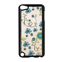 Whimsical Flowers Blue Apple Ipod Touch 5 Case (black)