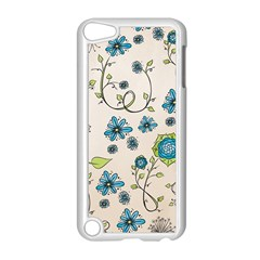 Whimsical Flowers Blue Apple Ipod Touch 5 Case (white)