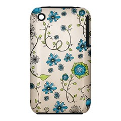 Whimsical Flowers Blue Apple iPhone 3G/3GS Hardshell Case (PC+Silicone)