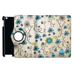 Whimsical Flowers Blue Apple iPad 3/4 Flip 360 Case
