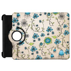 Whimsical Flowers Blue Kindle Fire HD 7  (1st Gen) Flip 360 Case