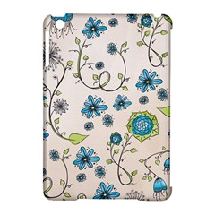 Whimsical Flowers Blue Apple iPad Mini Hardshell Case (Compatible with Smart Cover)