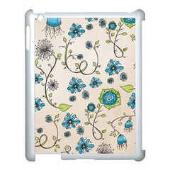 Whimsical Flowers Blue Apple iPad 3/4 Case (White)