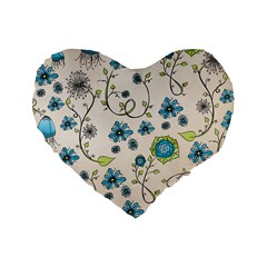 Whimsical Flowers Blue 16  Premium Heart Shape Cushion
