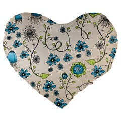 Whimsical Flowers Blue 19  Premium Heart Shape Cushion