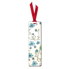 Whimsical Flowers Blue Small Bookmark