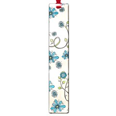 Whimsical Flowers Blue Large Bookmark