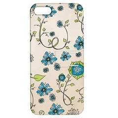 Whimsical Flowers Blue Apple iPhone 5 Hardshell Case with Stand