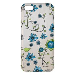 Whimsical Flowers Blue Apple Iphone 5 Premium Hardshell Case