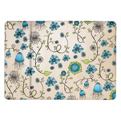 Whimsical Flowers Blue Samsung Galaxy Tab 10 1  P7500 Flip Case