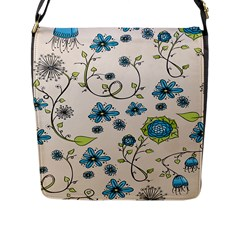 Whimsical Flowers Blue Flap Closure Messenger Bag (Large)
