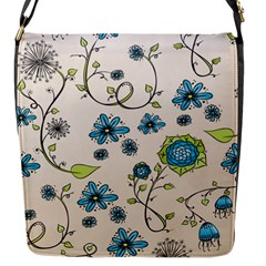 Whimsical Flowers Blue Flap Closure Messenger Bag (small)