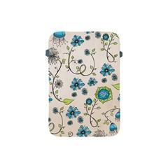 Whimsical Flowers Blue Apple iPad Mini Protective Sleeve