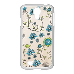 Whimsical Flowers Blue Samsung GALAXY S4 I9500/ I9505 Case (White)
