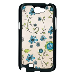 Whimsical Flowers Blue Samsung Galaxy Note 2 Case (Black)