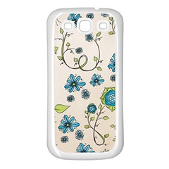 Whimsical Flowers Blue Samsung Galaxy S3 Back Case (White)