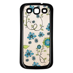 Whimsical Flowers Blue Samsung Galaxy S3 Back Case (Black)