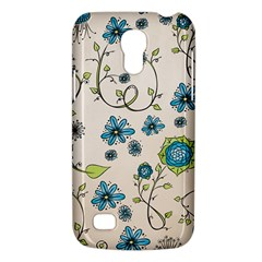 Whimsical Flowers Blue Samsung Galaxy S4 Mini (GT-I9190) Hardshell Case