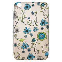 Whimsical Flowers Blue Samsung Galaxy Tab 3 (8 ) T3100 Hardshell Case