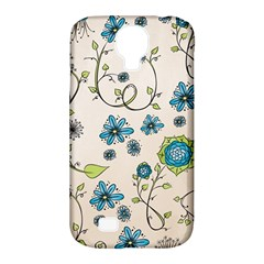 Whimsical Flowers Blue Samsung Galaxy S4 Classic Hardshell Case (PC+Silicone)