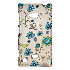Whimsical Flowers Blue Nokia Lumia 720 Hardshell Case
