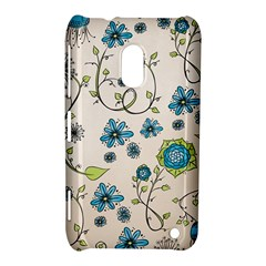 Whimsical Flowers Blue Nokia Lumia 620 Hardshell Case